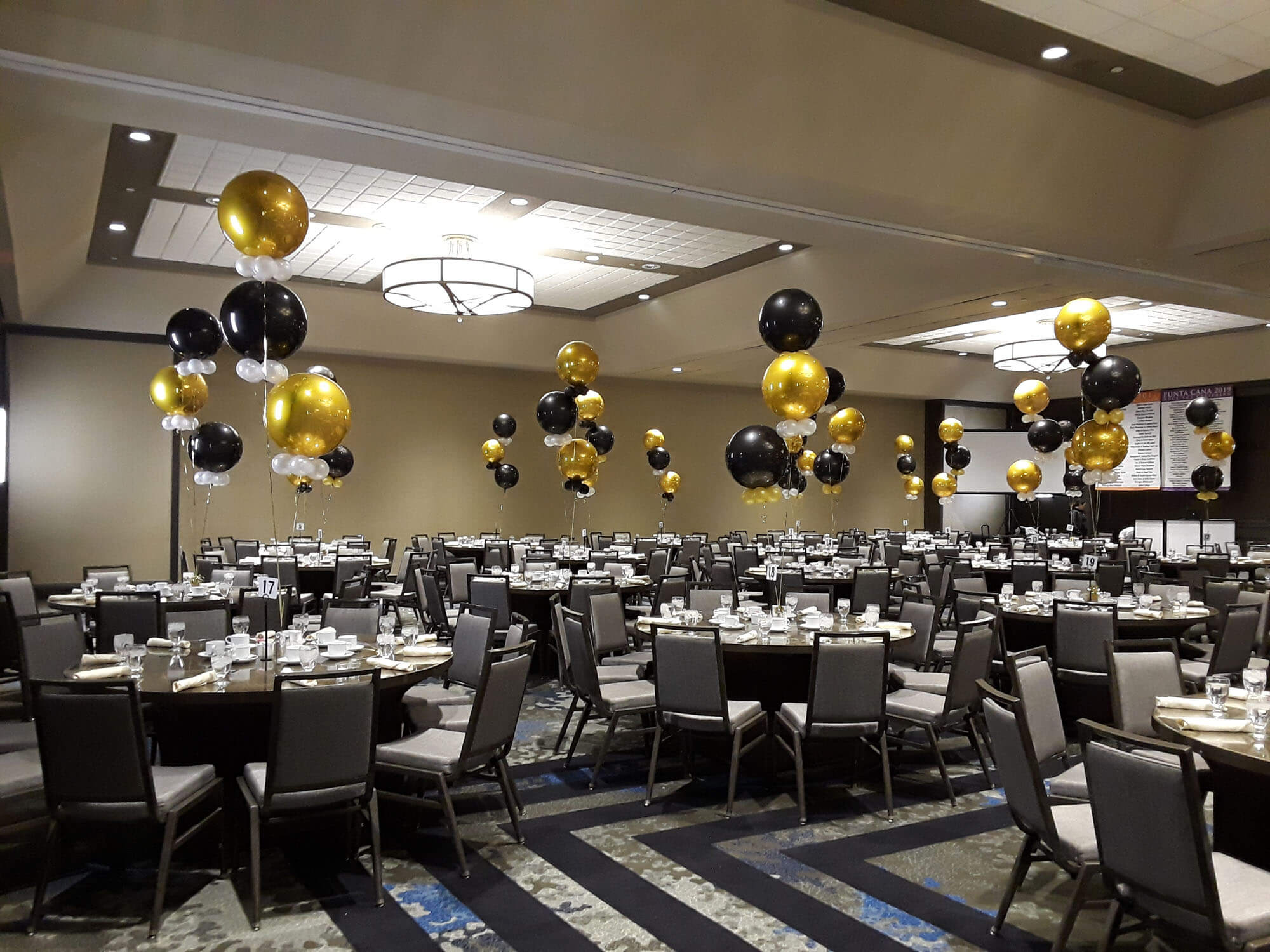 black, gold, white clear, silver balloon design